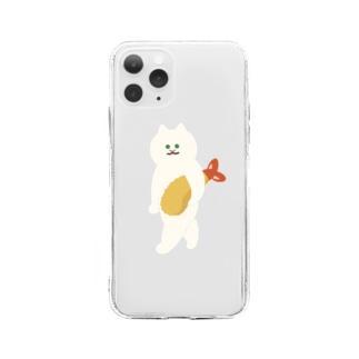 エビフライをさわやかに持ち運ぶ猫 Soft clear smartphone cases