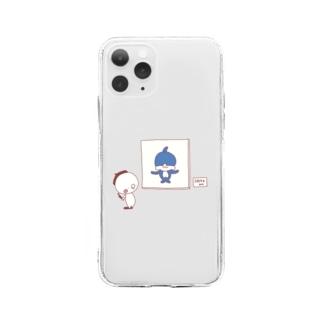 ぷに画伯 イルカ Soft clear smartphone cases