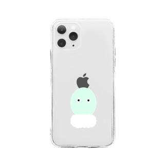 わさびちゃんシャリの上 Soft clear smartphone cases