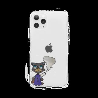魔法使い悟りのヘビースモーカーキャット Soft clear smartphone cases