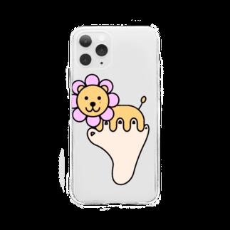 あしゆびふれんずのあしゆびらいおん(ピンク) Soft clear smartphone cases