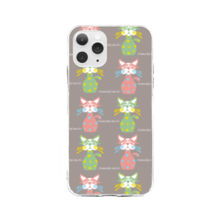chamao&pimushiのねこ好きさんへ Soft clear smartphone cases