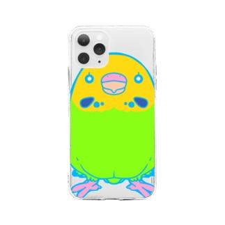 無言のインコちゃん Soft clear smartphone cases
