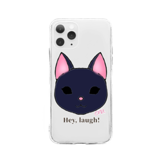 enu. のHey, laugh!(黒猫) Soft clear smartphone cases