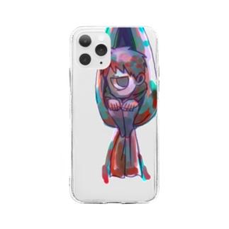 ひきこもる Soft clear smartphone cases