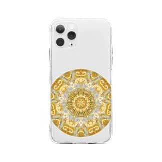 黄金色の曼荼羅 Soft clear smartphone cases