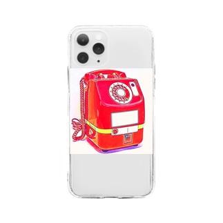 昭和の思い出 『赤電話』 Soft clear smartphone cases