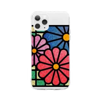 ねこやなぎ屋の和柄ステンドグラス風(菊×市松) Soft clear smartphone cases