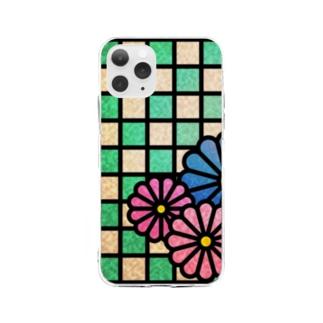 ねこやなぎ屋の和柄ステンドグラス風(菊×市松)全面ver Soft clear smartphone cases