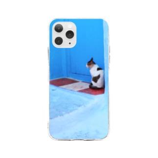 モロッコの猫さん Soft clear smartphone cases