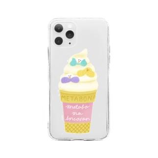 メタボなインコさん_ソフトクリーム Soft clear smartphone cases