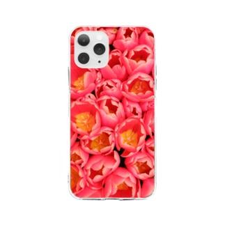 ピンクの花束 Soft clear smartphone cases