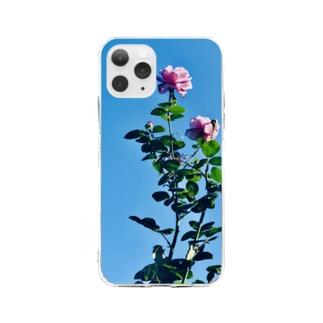 ローズ Soft clear smartphone cases