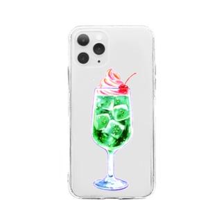 ピンクアイスとメロンソーダ Soft clear smartphone cases