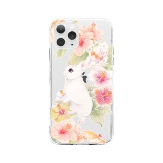 ハイビスカスうさぎ Soft clear smartphone cases