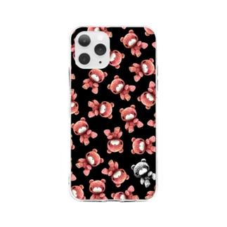 【各20点限定】いたずらぐまのグル〜ミ〜(#25/black) Soft clear smartphone cases