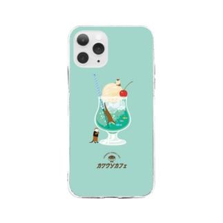 カワウソとクリームソーダ Soft Clear Smartphone Case