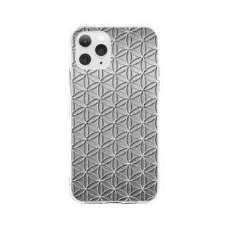 フラワーオブライフ メタリックA Soft clear smartphone cases