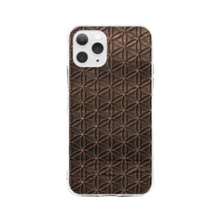 フラワーオブライフ 木目調A Soft clear smartphone cases