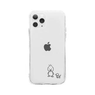 あひる×いぬ おさんぽ Soft clear smartphone cases