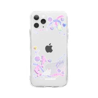 ♡sticker deco case-pink♡ Soft Clear Smartphone Case