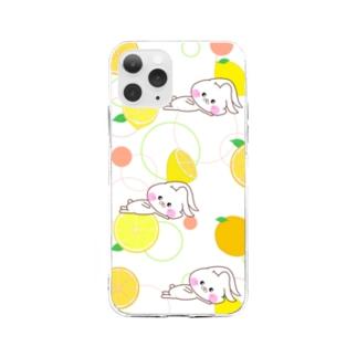 うさころと柑橘フルーツ柄 Soft clear smartphone cases