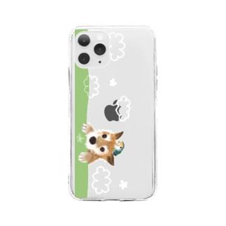 仲良しさん(わんこ&コザクラ)【 白い雲】 Soft clear smartphone cases