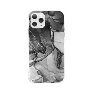 楼(モノクロver.) Soft clear smartphone cases