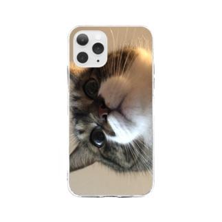 飯をくれと言っているぽんちょ Soft clear smartphone cases