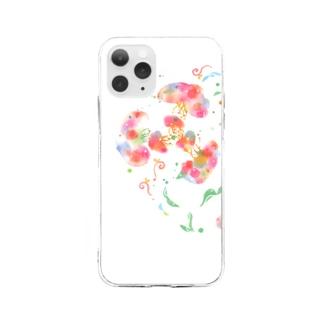 くらげお花 Soft clear smartphone cases