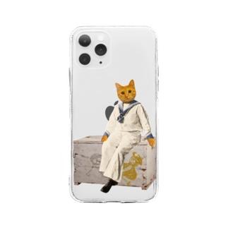 茶とら 猫『うちのコ・シリーズ「船乗り猫のマリアーノ」』 ペットロス 愛猫 Soft Clear Smartphone Case