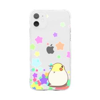 振り向きオカメ(ルチノー) Soft clear smartphone cases