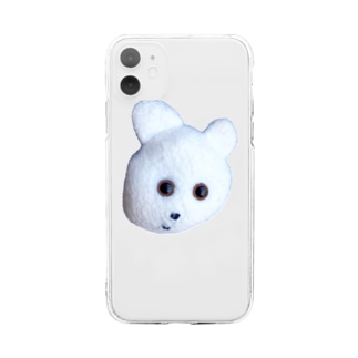 くまきちフェイス Soft clear smartphone cases