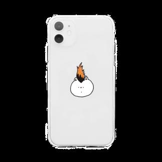 さわいあみのモヒカンくまさん Soft clear smartphone cases