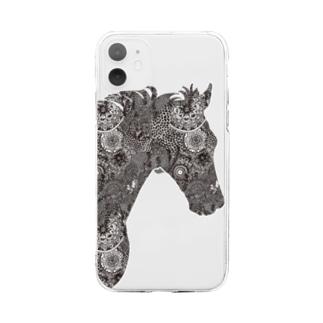 馬がすてきな(うっすら)白地用 Soft clear smartphone cases