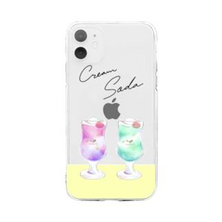 喫茶polaris/クリームソーダ・ダブル Soft clear smartphone cases