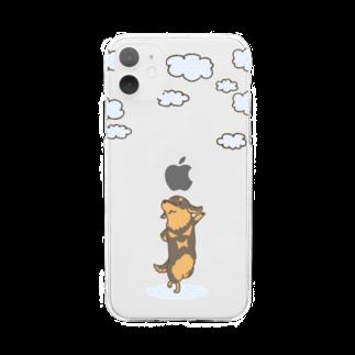 真希ナルセ(マキナル)の雲とダックス(ブラタン) Soft clear smartphone cases