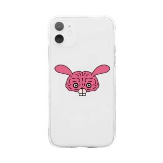 脳みそウサギ Soft clear smartphone cases