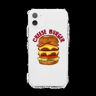 すとろべりーガムFactoryのチーズバーガー Soft clear smartphone cases