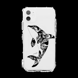 繁田穂波のシャチ/スマホケース Soft clear smartphone cases