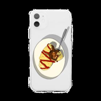 猫とアメジストのOMURICE Soft clear smartphone cases