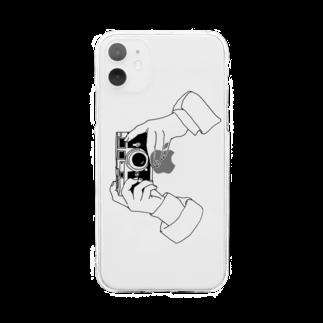 猫とアメジストのcamere Soft clear smartphone cases