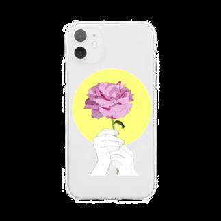 猫とアメジストの芍薬 Soft clear smartphone cases