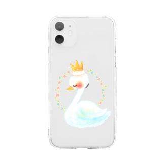 スワンちゃん Soft clear smartphone cases