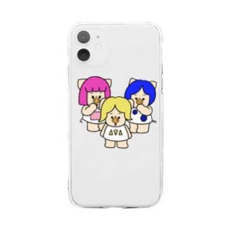 三匹の子むすめひそひそ話 Soft clear smartphone cases
