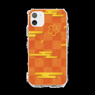 つきしょっぷのオレンジの和柄 雲と桜 Soft clear smartphone cases