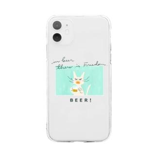ビールねこ - 白猫 Soft clear smartphone cases