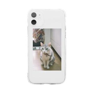 おすわりするうちのねこん Soft clear smartphone cases