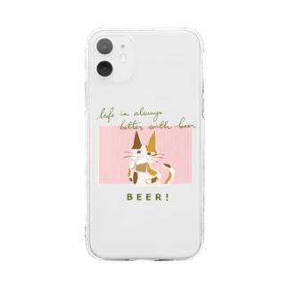 ビールねこ - 三毛猫 Soft clear smartphone cases