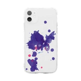 これから出逢う紫の蝶 Soft clear smartphone cases